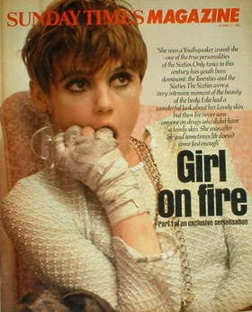 <!--1982-10-17-->The Sunday Times magazine - Edie Sedgwick cover (17 Octobe