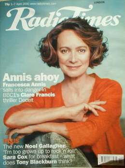 <!--2000-04-01-->Radio Times magazine - Francesca Annis cover (1-7 April 20