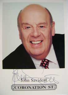 John Savident autograph (ex Coronation Street actor)