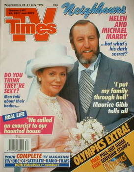 <!--1992-07-25-->TV Times magazine - Anne Haddy and Brian Blane cover (25-3