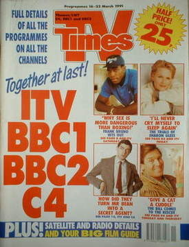 <!--1991-03-16-->TV Times magazine - Frank Bruno cover (16-22 March 1991)