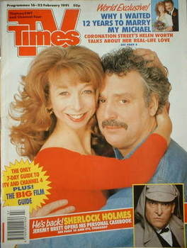 <!--1991-02-16-->TV Times magazine - Helen Worth and Michael Angelis cover
