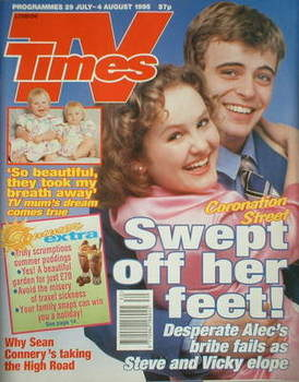 <!--1995-07-29-->TV Times magazine - Simon Gregson and Chloe Newsome cover