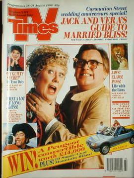<!--1990-08-18-->TV Times magazine - Liz Dawn and Bill Tarmey cover (18-24