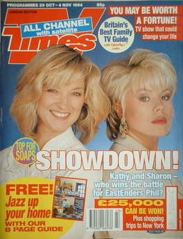 <!--1994-10-29-->TV Times magazine - Gillian Taylforth and Letitia Dean cov