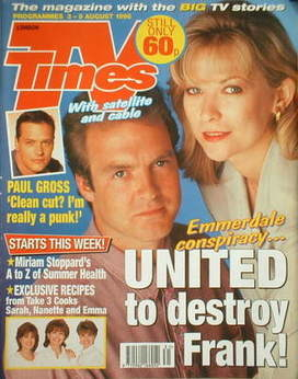 <!--1996-08-03-->TV Times magazine - Claire King and Peter Amory cover (3-9