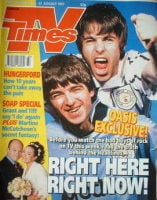 <!--1997-08-16-->TV Times magazine - Liam Gallagher and Noel Gallagher cover (16-22 August 1997)