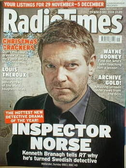 <!--2008-11-29-->Radio Times magazine - Kenneth Branagh cover (29 November-