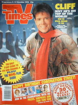 <!--1990-12-08-->TV Times magazine - Cliff Richard cover (8-14 December 199