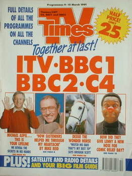 <!--1991-03-09-->TV Times magazine - Michael Aspel cover (9-15 March 1991)