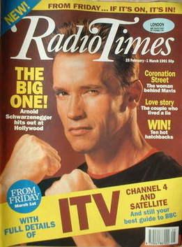 <!--1991-02-23-->Radio Times magazine - Arnold Schwarzenegger cover (23 Feb
