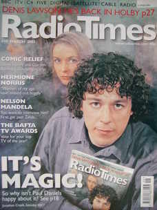 <!--2003-03-01-->Radio Times magazine - Alan Davies cover (1-7 March 2003)
