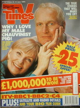 <!--1991-06-08-->TV Times magazine - Paul Newman and Joanne Woodward cover
