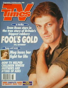 <!--1992-11-14-->TV Times magazine - Sean Bean cover (14-20 November 1992)