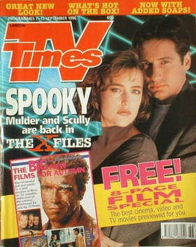 <!--1996-09-07-->TV Times magazine - Gillian Anderson and David Duchovny co