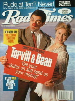 <!--1995-03-11-->Radio Times magazine - Jayne Torvill and Rowan Atkinson co