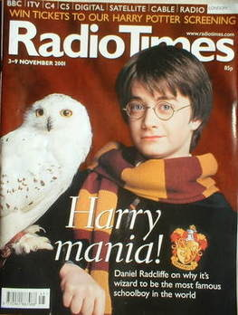 <!--2001-11-03-->Radio Times magazine - Daniel Radcliffe cover (3-9 Novembe
