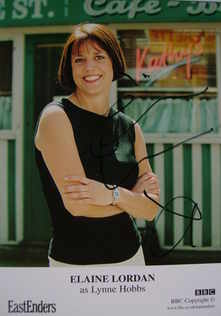 Elaine Lordan autograph (ex EastEnders actor)