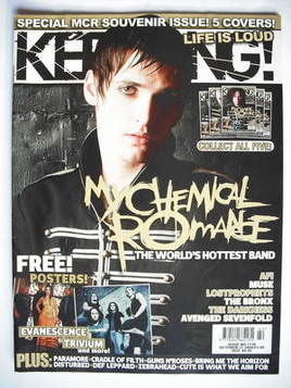 <!--2006-10-21-->Kerrang magazine - Mikey Way cover (21 October 2006 - Issu