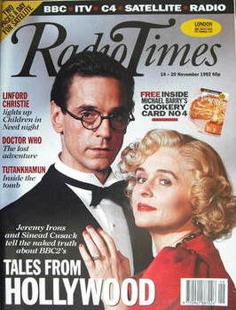 <!--1992-11-14-->Radio Times magazine - Jeremy Irons and Sinead Cusack cove