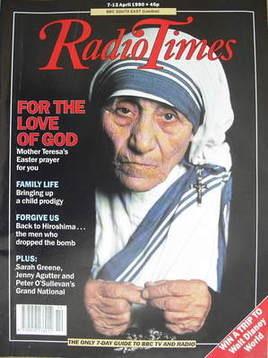 <!--1990-04-07-->Radio Times magazine - Mother Teresa cover (7-13 April 199