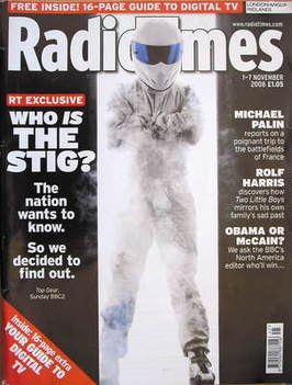 <!--2008-11-01-->Radio Times magazine - Who Is The Stig cover (1-7 November