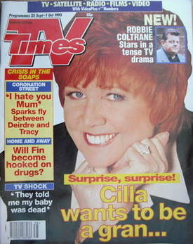 <!--1993-09-25-->TV Times magazine - Cilla Black cover (25 September-1 Octo