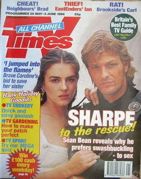 <!--1994-05-28-->TV Times magazine - Sean Bean and Liz Hurley cover (28 May