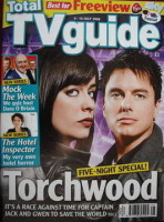 <!--2009-07-04-->Total TV Guide magazine - John Barrowman and Eve Myles cover (4-10 July 2009)