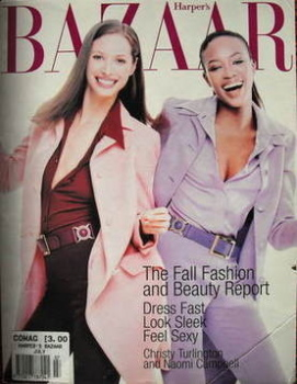 Harper's Bazaar magazine - July 1996 - Christy Turlington and Naomi Campbell cover