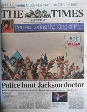 The Times newspaper - Michael Jackson cover (27 June 2009)