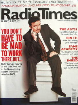 <!--2002-09-28-->Radio Times magazine - Ricky Gervais cover (28 September-4