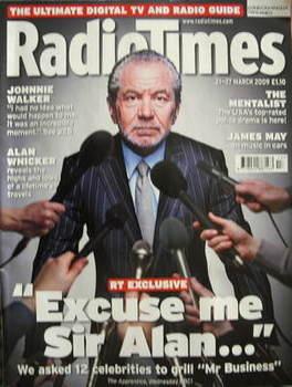 <!--2009-03-21-->Radio Times magazine - Sir Alan Sugar cover (21-27 March 2