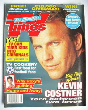 <!--1994-06-25-->TV Times magazine - Kevin Costner cover (25 June-1 July 19