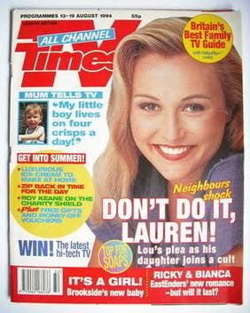 <!--1994-08-13-->TV Times magazine - Sarah Vandenbergh cover (13-19 August