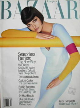 Harper's Bazaar magazine - March 1997 - Linda Evangelista cover
