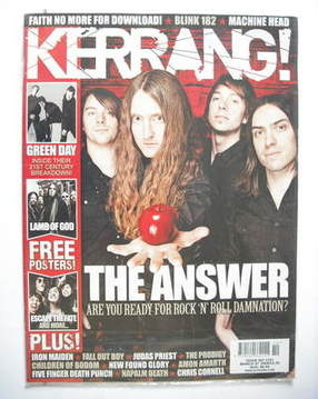 <!--2009-03-07-->Kerrang magazine - The Answer cover (7 March 2009 - Issue