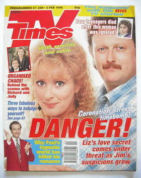 <!--1996-01-27-->TV Times magazine - Beverley Callard and Charles Lawson co