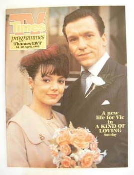 TV Times cover page - Joanne Whalley and Clive Wood (TV section - 24-30 April 1982)