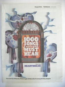 The Observer newspaper supplement - 1000 Songs Everyone Must Hear (15 March
