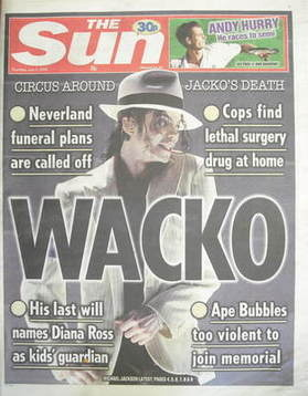 The Sun newspaper - Michael Jackson cover (2 July 2009)