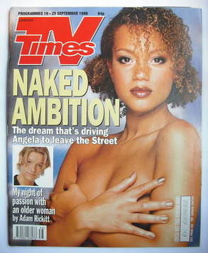 <!--1998-09-19-->TV Times magazine - Angela Griffin cover (19-25 September