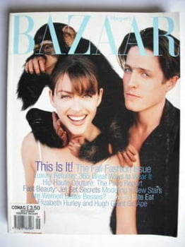Harper's Bazaar magazine - September 1996 - Liz Hurley and Hugh Grant cover
