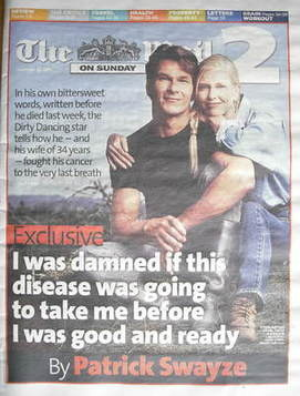 The Mail on Sunday 2 newspaper supplement - Patrick Swayze cover (20 Septem