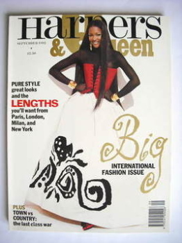 British Harpers & Queen magazine - September 1992 - Naomi Campbell cover