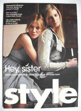 <!--2007-08-05-->Style magazine - Sienna Miller and Savannah Miller cover (
