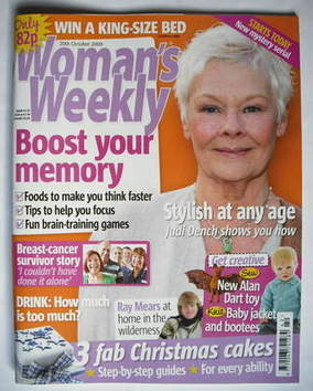 <!--2009-10-20-->Woman's Weekly magazine (20 October 2009 - Judi Dench cove