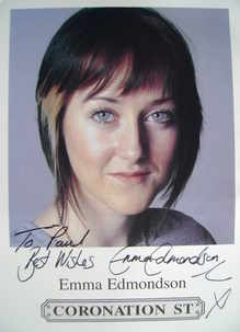 Emma Edmondson autograph (ex Coronation Street actor)