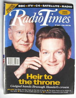 <!--1992-04-25-->Radio Times magazine - Kenneth Branagh and John Gielgud co