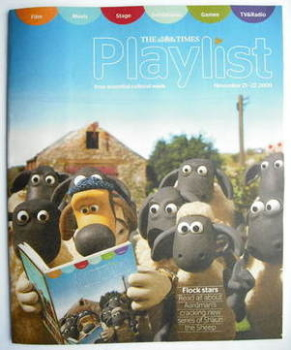 The Times Playlist magazine - 21 November 2009 - Gromit and Shaun the Sheep cover